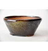 Ronde goud en bruine Bonsa-pot - 100 x 104 x 45 mm