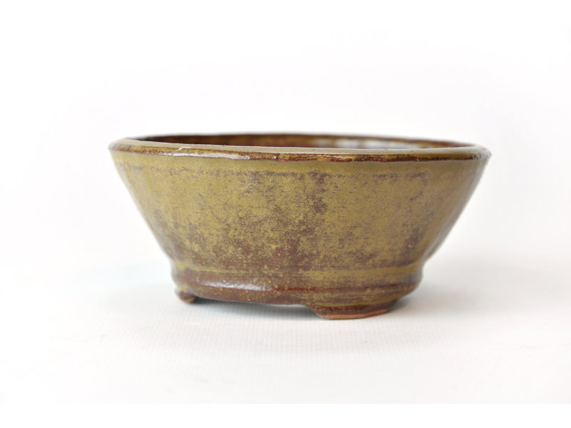 Ronde gouden Bonsa-pot - 117 x 117 x 50 mm