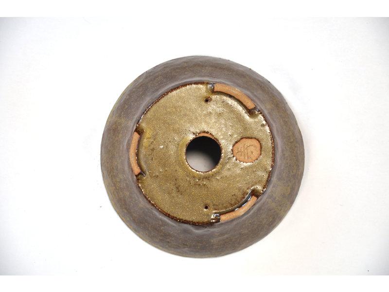 Ronde gouden Bonsa-pot - 123 x 120 x 40 mm