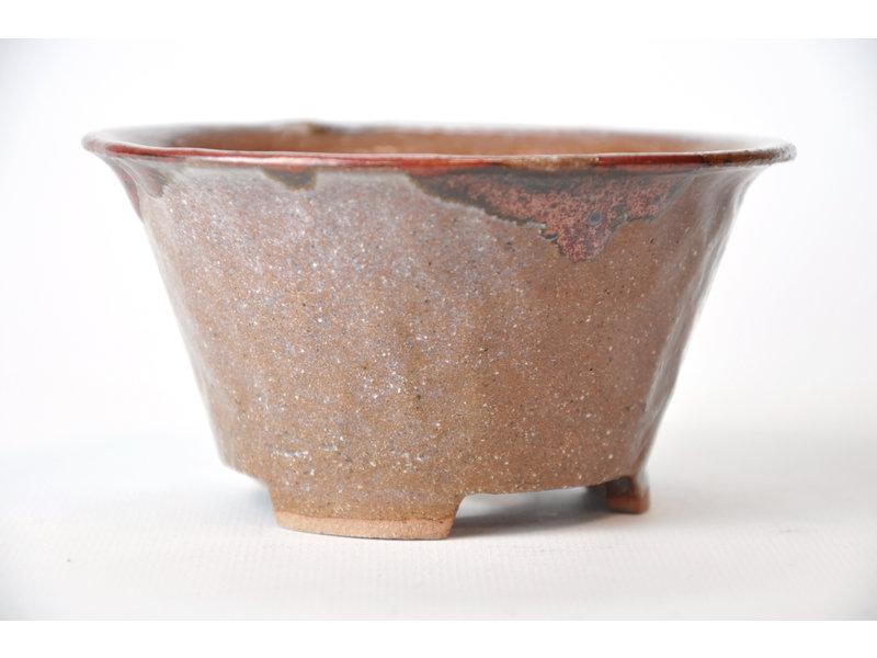 Ronde bruine en lila-achtige beige Bonsa-pot - 117 x 116 x 60 mm