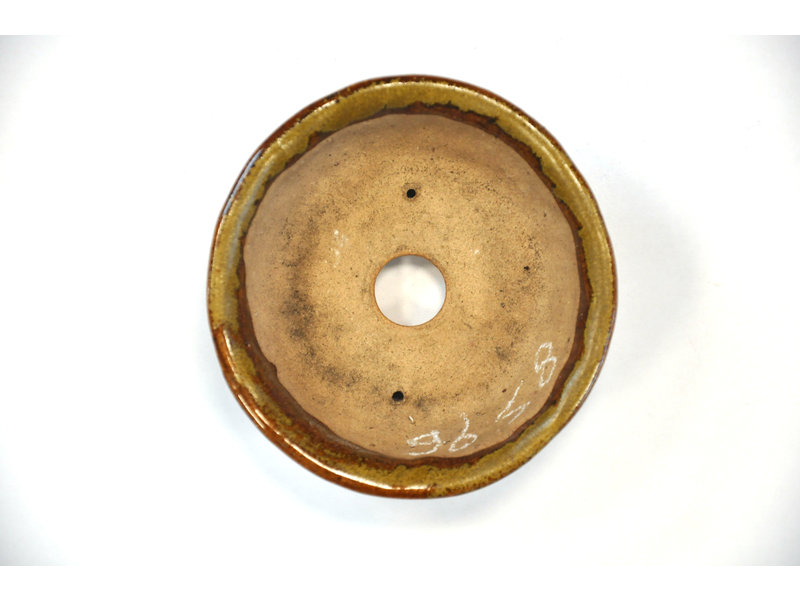 Ronde goud en bruine Bonsa-pot - 100 x 100 x 35 mm