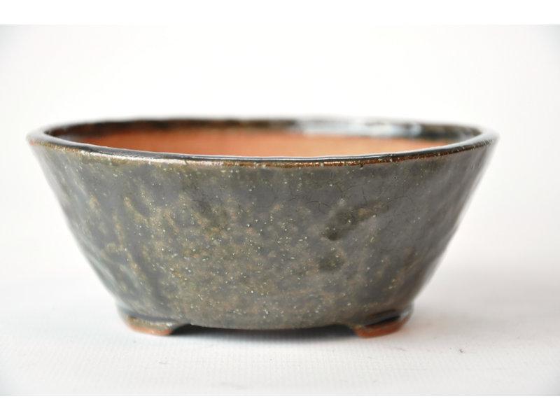 Ronde groene Bonsa-pot - 120 x 115 x 45 mm