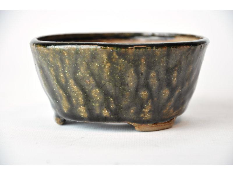Ronde groene Bonsa-pot - 100 x 100 x 50 mm