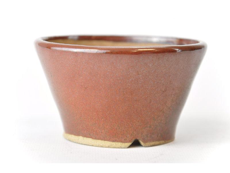 Ronde bruine Bonsa-pot - 90 x 94 x 50 mm
