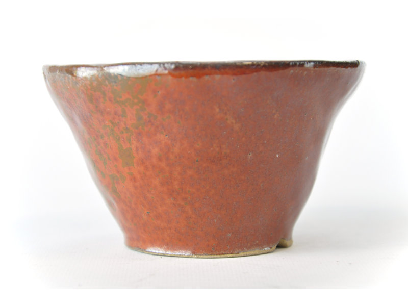 Ronde roodbruine Bonsa-pot - 115 x 120 x 70 mm