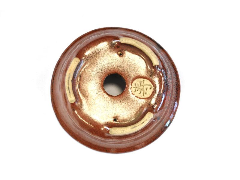 Ronde roodbruine Bonsa-pot - 114 x 112 x 35 mm