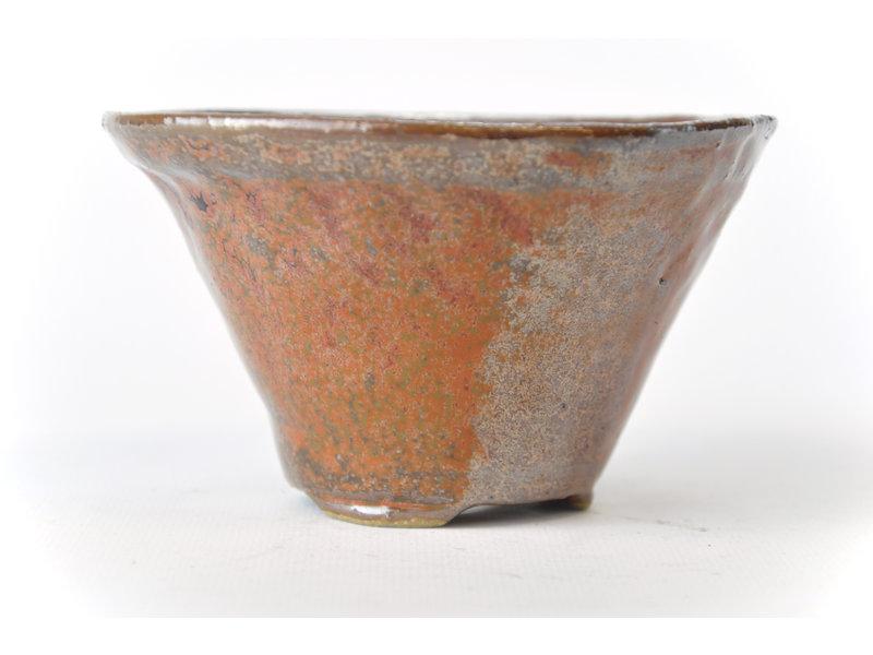 Ronde roodbruine Bonsa-pot - 122 x 123 x 70 mm