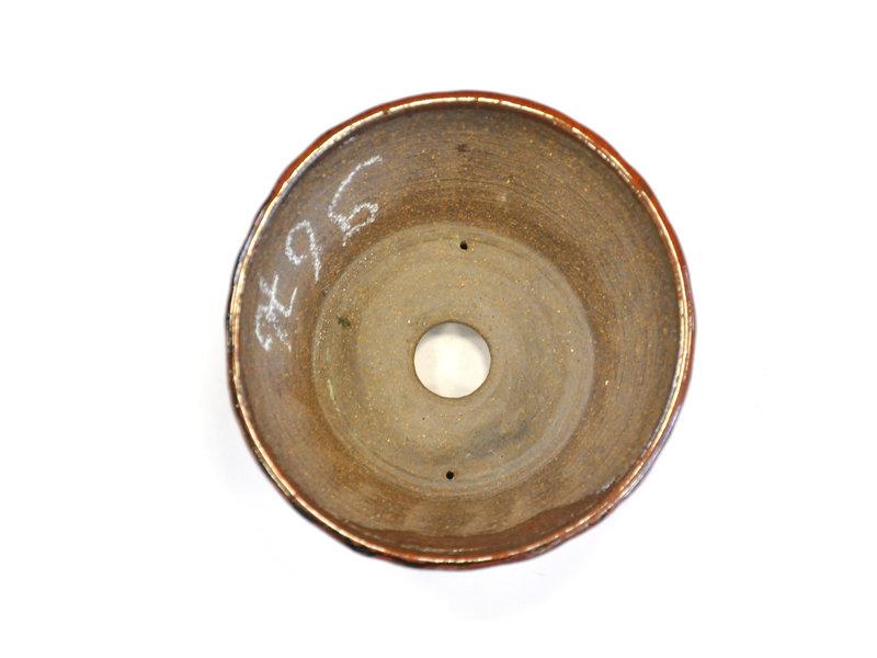 Ronde rode en bruine Bonsa-pot - 115 x 110 x 50 mm