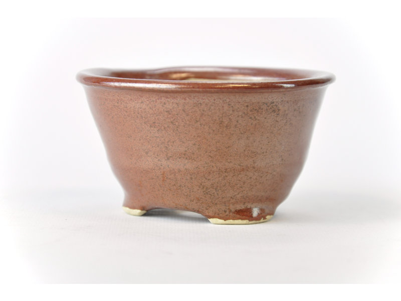 Ronde roodbruine Bonsa-pot - 103 x 103 x 55 mm