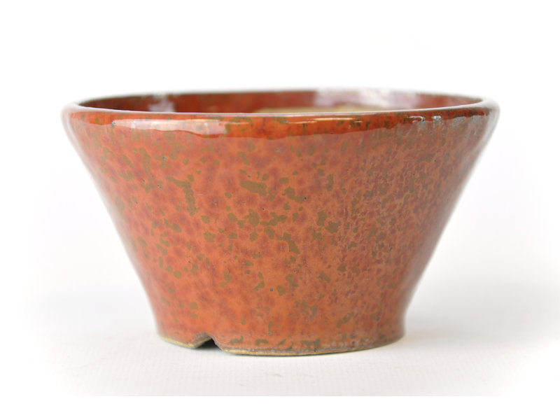 Ronde roodbruine Bonsa-pot - 105 x 104 x 60 mm