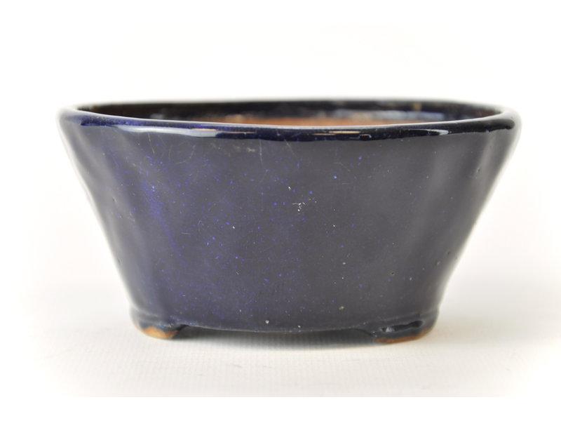 Ronde blauwe Bonsa-pot - 117 x 114 x 55 mm