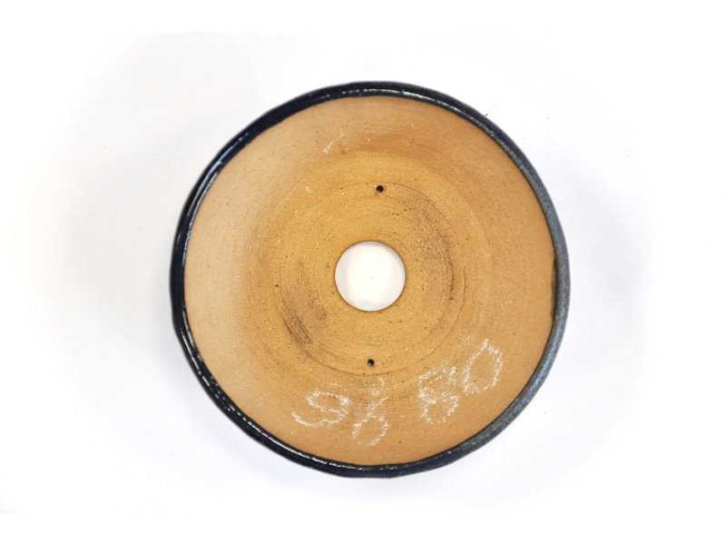 Ronde blauwe Bonsa-pot - 115 x 114 x 40 mm