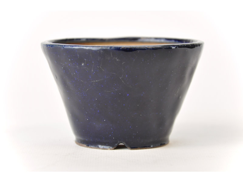 Ronde blauwe Bonsa-pot - 93 x 92 x 60 mm