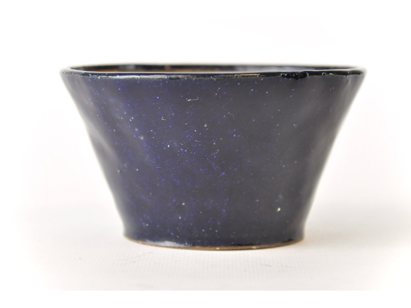 Ronde blauwe Bonsa-pot - 112 x 110 x 60 mm