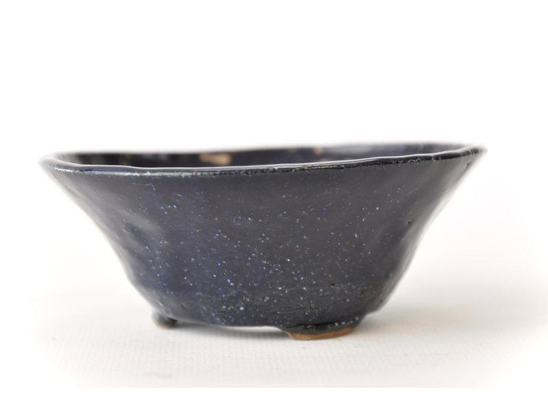 Ronde blauwe Bonsa-pot - 102 x 102 x 40 mm