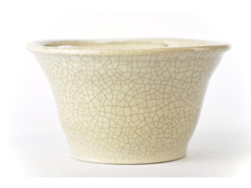 Ronde witte craquelé Bonsa-pot - 108 x 105 x 60 mm