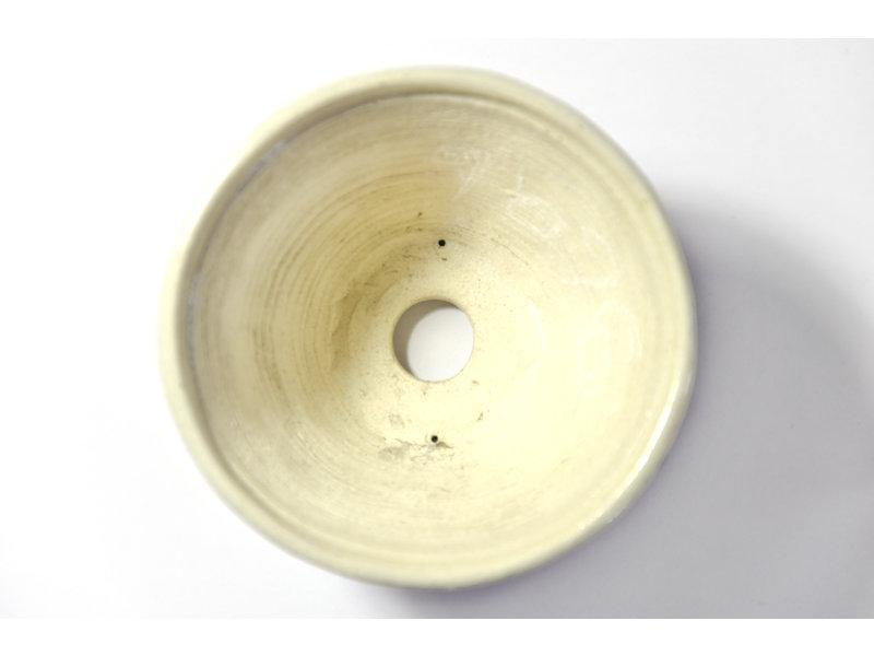 Ronde creme Bonsa-pot - 110 x 110 x 65 mm