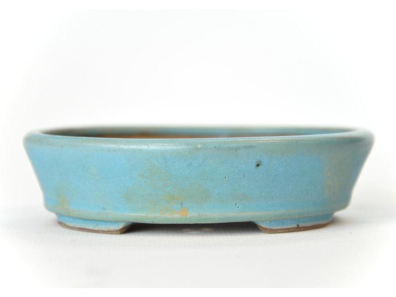 Ovale aquablauwe Seto-pot - 107 x 94 x 25 mm