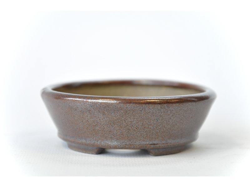 Ovale bruine Seto-pot - 100 x 86 x 25 mm
