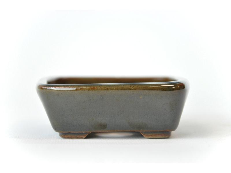 Rechthoekige groene en bruine Seto-pot - 100 x 80 x 25 mm
