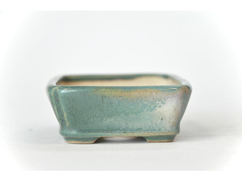 Rechthoekige groenblauw Seto pot - 105 x 80 x 30 mm