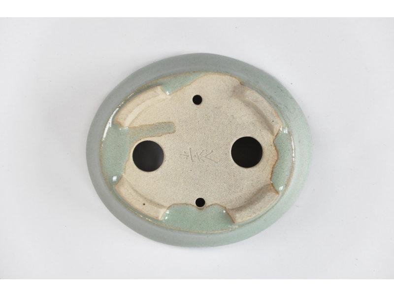 Ovale muntachtige blauwe Seto-pot - 100 x 85 x 25 mm