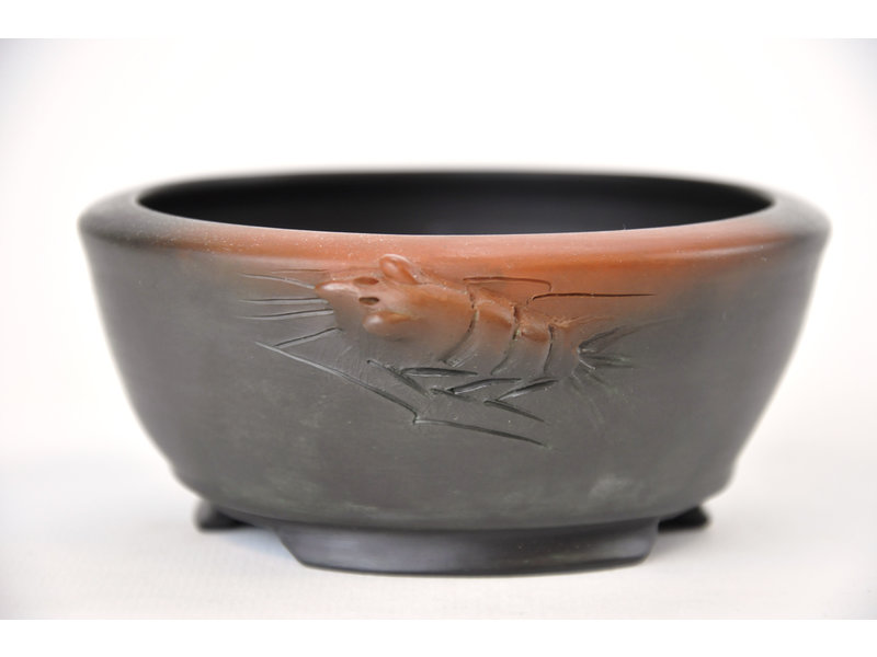 Ronde ongeglazuurde Motozo bonsaipot - 107 x 107 x 46 mm