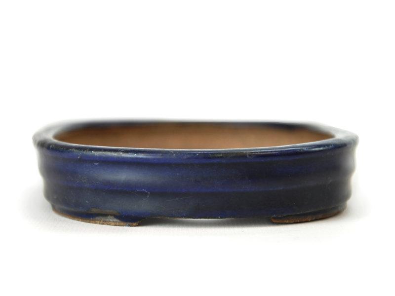 Ovale blauwe Hattori bonsaipot - 153 x 111 x 20 mm