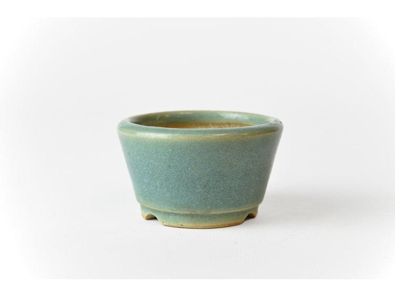 Ronde azuurblauwe Techan bonsai pot - 70 x 70 x 40 mm