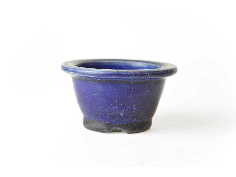 Ronde blauwe Techan bonsaipot - 88 x 88 x 50 mm