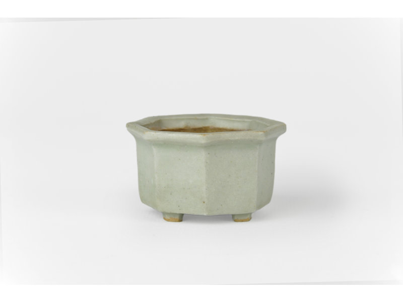 Achthoekige grijze Misai bonsaipot - 50 x 50 x 35 mm