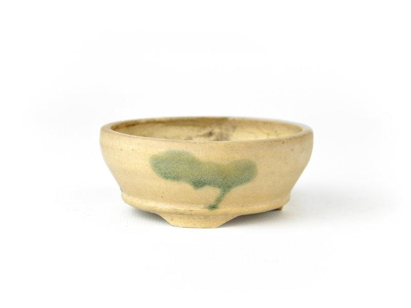 Ronde creme bonsai pot - 83 x 83 x 30 mm