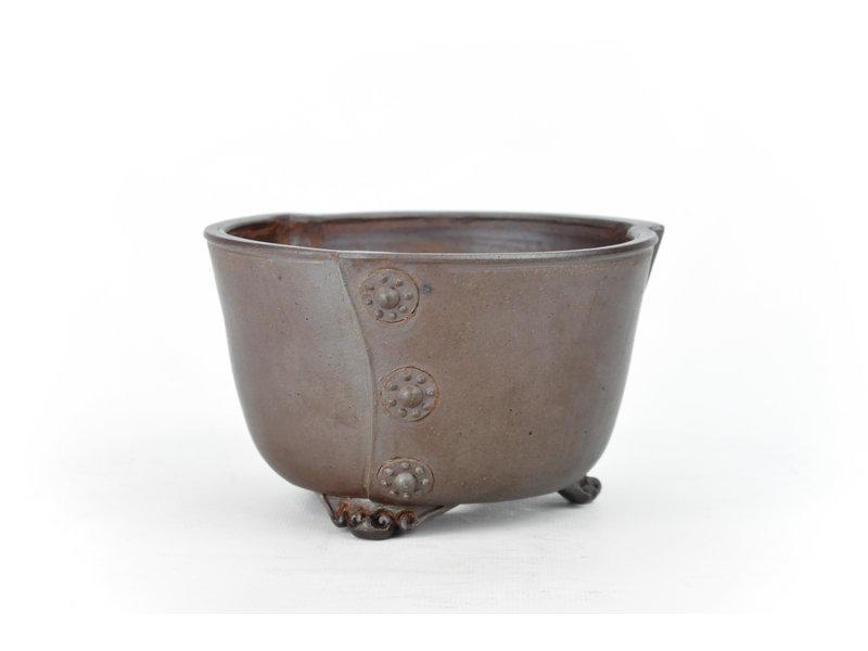 Ronde ongeglazuurde Itou Tonyo bonsaipot - 144 x 144 x 85 mm