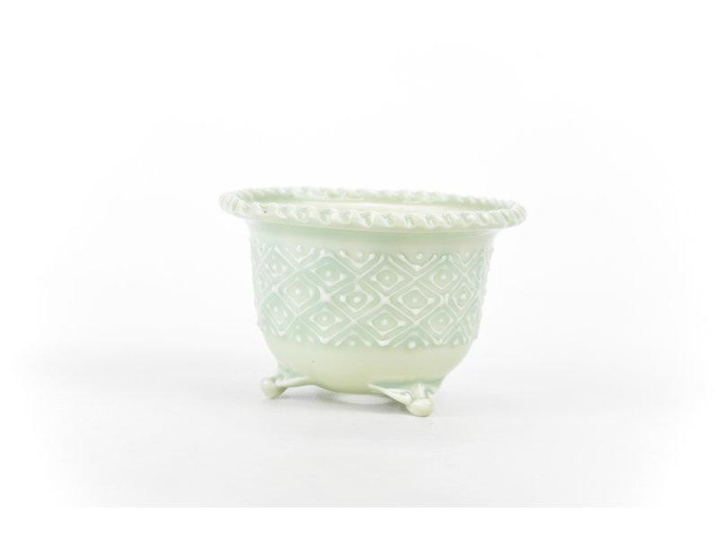 Pot à bonsaï rond bleu clair et blanc Itou Tonyo - 99 x 99 x 65 mm