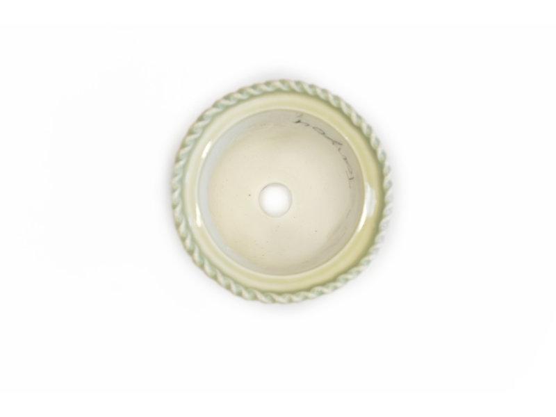 Runder hellblauer und weißer Itou Tonyo Bonsai Topf - 99 x 99 x 65 mm