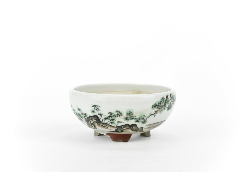 Ronde witte Kotani Jugaku bonsaipot - 104 x 104 x 50 mm
