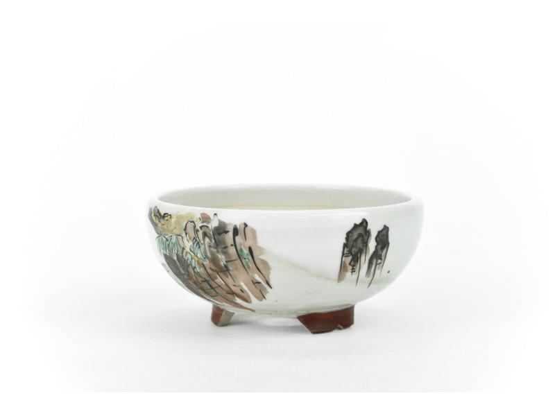 Round white Kotani Jugaku bonsai pot - 104 x 104 x 50 mm