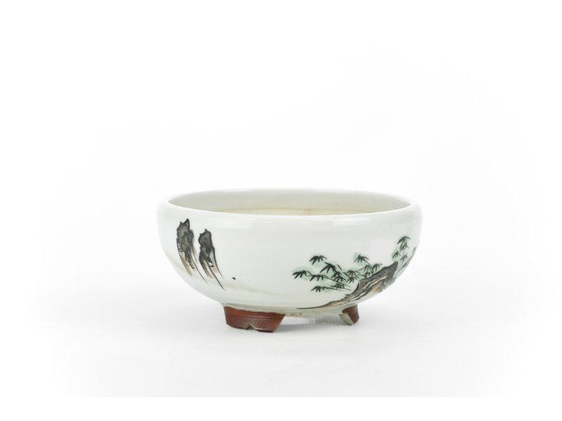 Pot à bonsaï rond blanc Kotani Jugaku - 104 x 104 x 50 mm