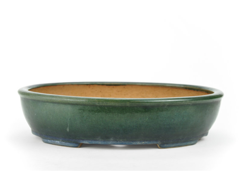 Pot à bonsaï ovale Kazahiro vert foncé - 335 x 275 x 75 mm