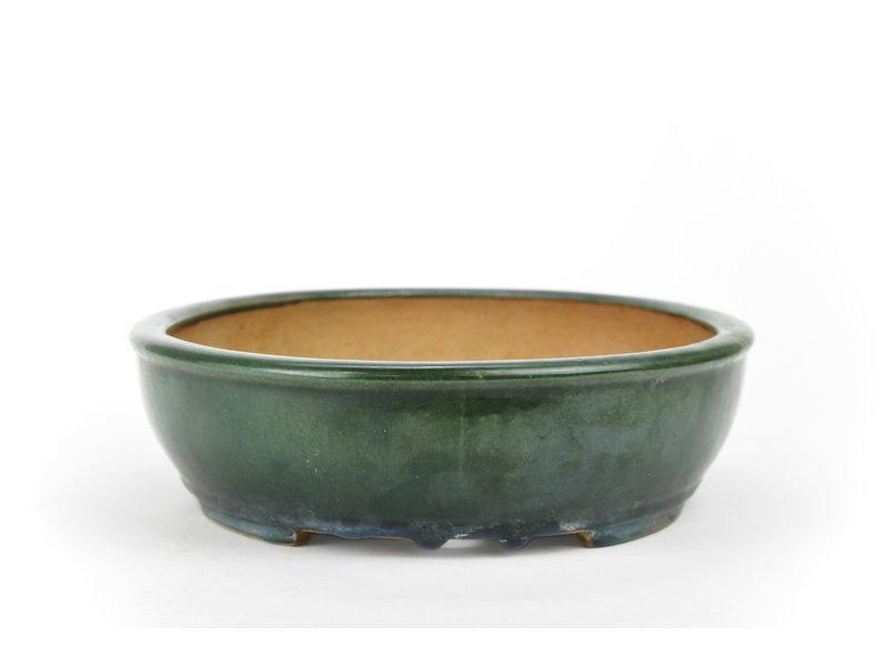 Oval dark green Kazahiro bonsai pot - 335 x 275 x 75 mm
