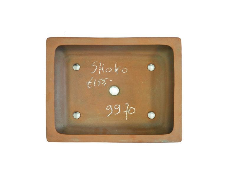 Rechteckiger unglasierter Shoko-Bonsai-Topf - 296 x 236 x 75 mm