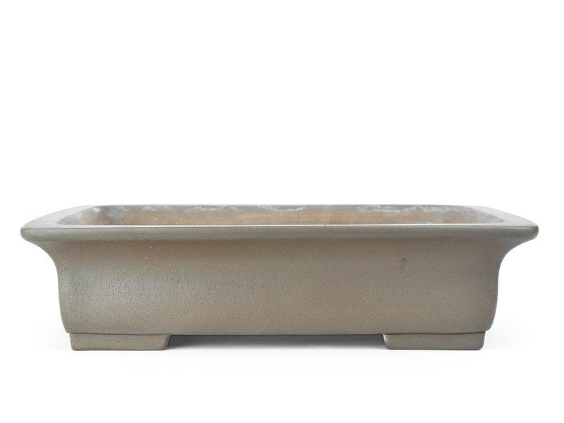 Rechteckiger unglasierter Yushi-Bonsai-Topf - 435 x 350 x 110 mm
