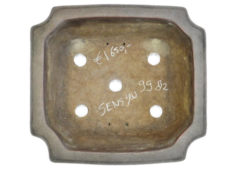 Pot à bonsaï rectangulaire non émaillé Sensyu - 390 x 355 x 100 mm