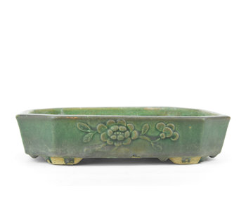 275 mm rectangular green bonsai pot by Kanto, China, Japan