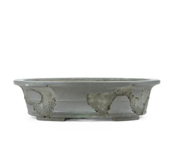 380 mm oval unglazed bonsai pot by Yamaaki, Tokoname, Japan