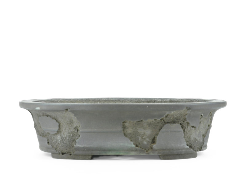 Oval unglazed Yamaaki bonsai pot - 380 x 300 x 95 mm