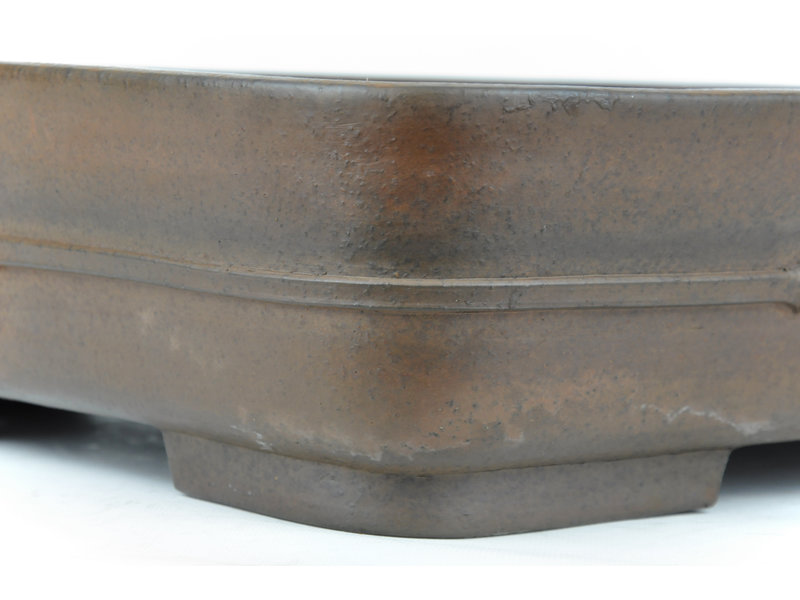 Rectangular unglazed Keizan bonsai pot - 466 x 365 x 114 mm