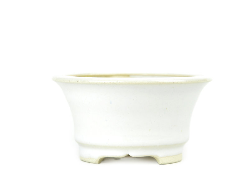 Ronde witte Bikou bonsai pot - 110 x 110 x 60 mm