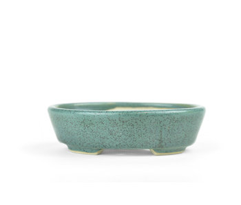 100 mm oval green bonsai pot by Bonsai, Japan