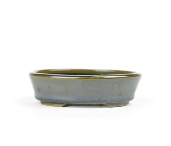 106 mm oval brown to dark green bonsai pot by Bonsai, Japan
